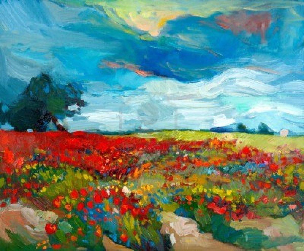 15209772-pintura-al-oleo-original-de-los-campos-de-flores-en-canvas-country-landscape-modern-impresionismo