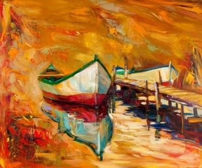 15209792-pintura-al-oleo-original-de-botes-y-muelle-muelle-en-canvas-sunset-sobre-ocean-modern-impresionismo