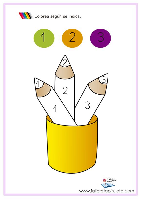 Colorea números lápices
