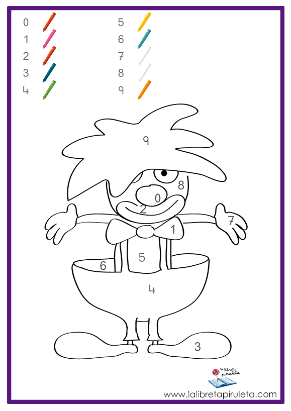 Colorea los dibujos según los números - La libreta piruleta