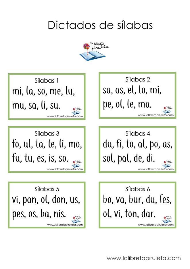 Dictados de sílabas