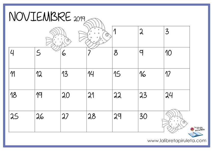 Calendario Noviembre 2019.Nuestros Calendarios Para Descargar E Imprimir La Libreta Piruleta
