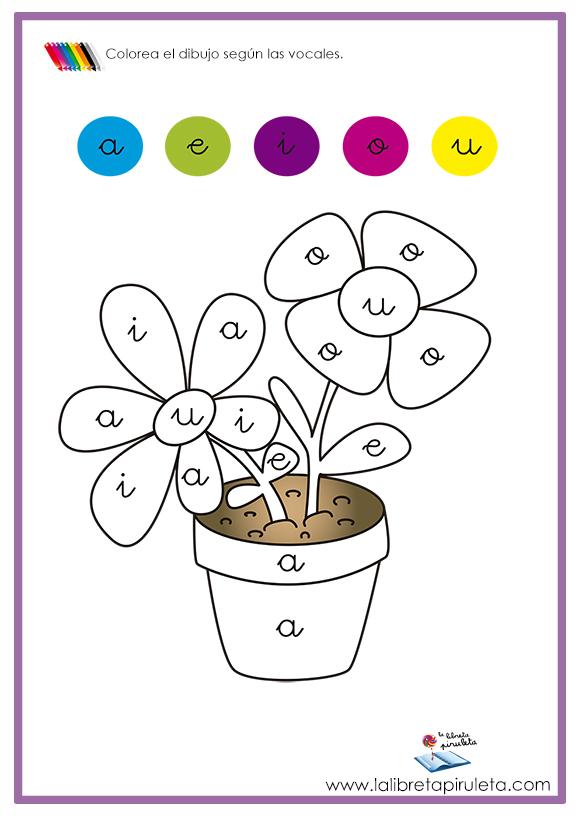 Fichas De Dibujos Para Colorear Según Vocales La Libreta