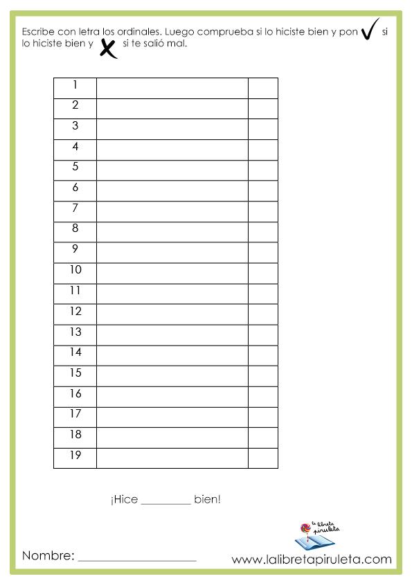 Escritura ordinales hasta 19