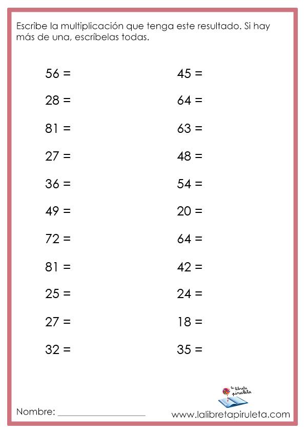 Actividades de multiplicaciones