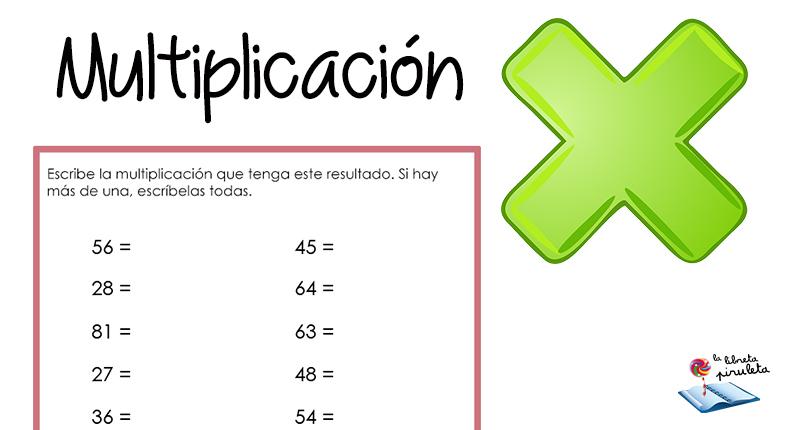 Escribe la multiplicación