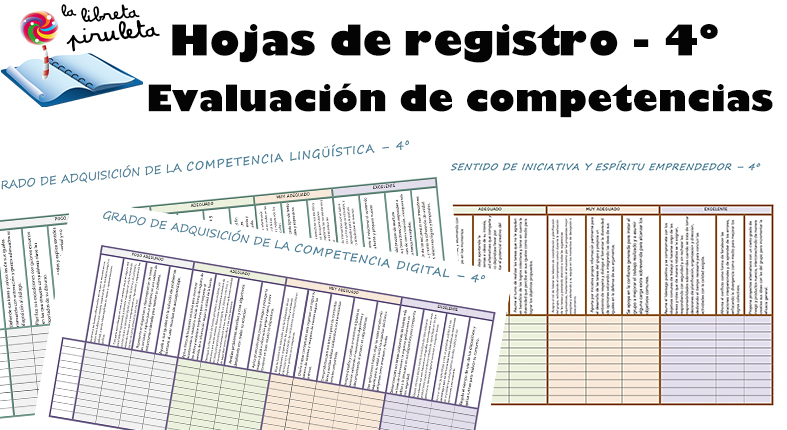 Hojas de registro para evaluar las competencias – 4º de Primaria