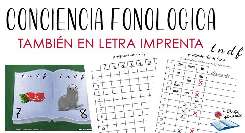 Conciencia fonológica: letras t n d f