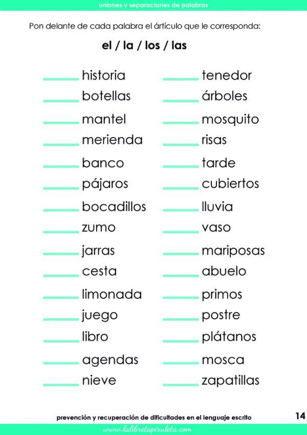 uniones y separaciones de palabras